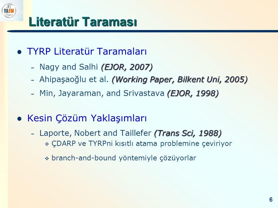 Literatür Taraması TYRP Literatür Taramaları Kesin Çözüm Yaklaşımları
