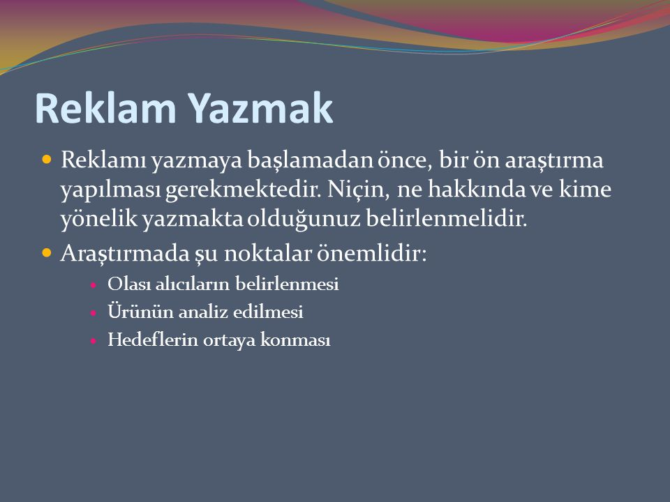 Reklam Yazmak