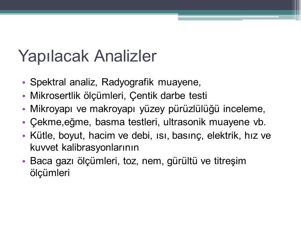 Yapılacak Analizler Spektral analiz, Radyografik muayene,