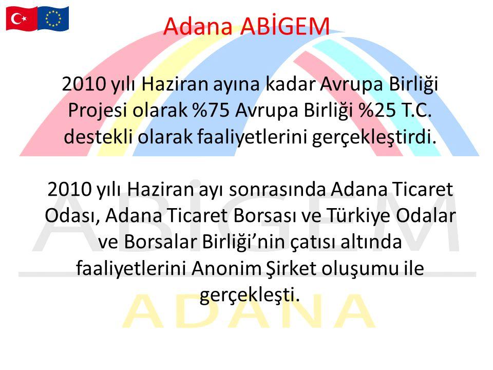 Adana ABİGEM 2010 yılı Haziran ayına kadar Avrupa Birliği Projesi olarak %75 Avrupa Birliği %25 T.C. destekli olarak faaliyetlerini gerçekleştirdi.