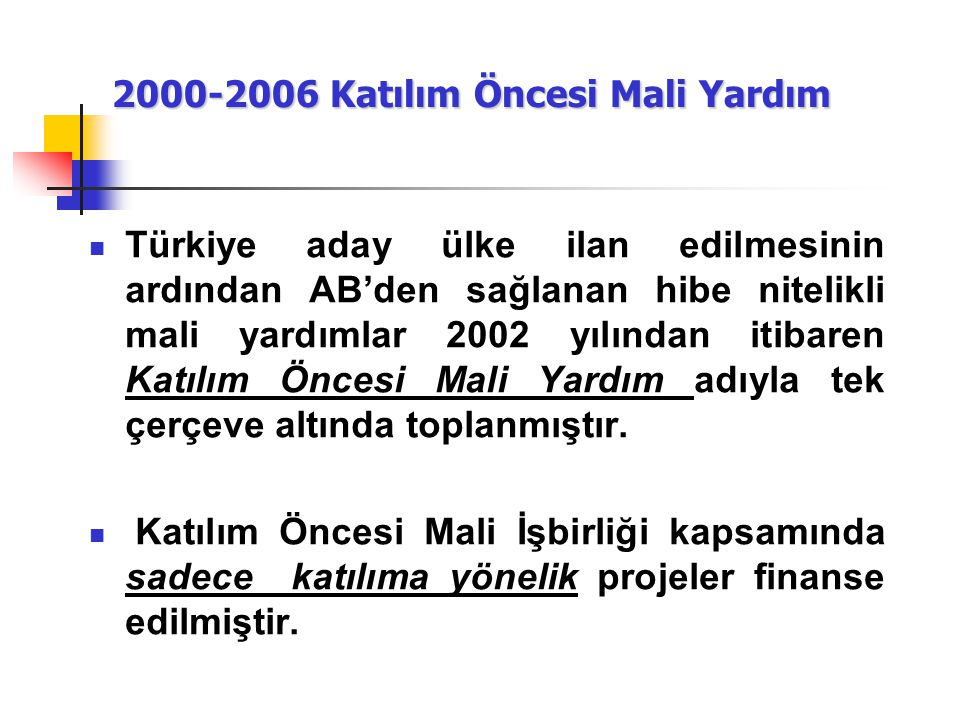 2000-2006 Katılım Öncesi Mali Yardım