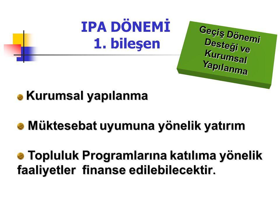 IPA DÖNEMİ 1. bileşen Müktesebat uyumuna yönelik yatırım