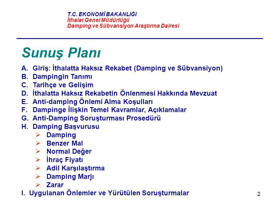 Sunuş Planı Giriş: İthalatta Haksız Rekabet (Damping ve Sübvansiyon)