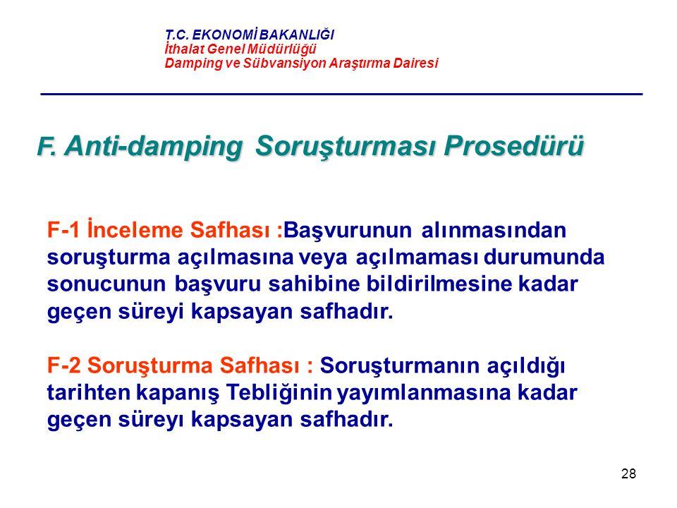 F. Anti-damping Soruşturması Prosedürü