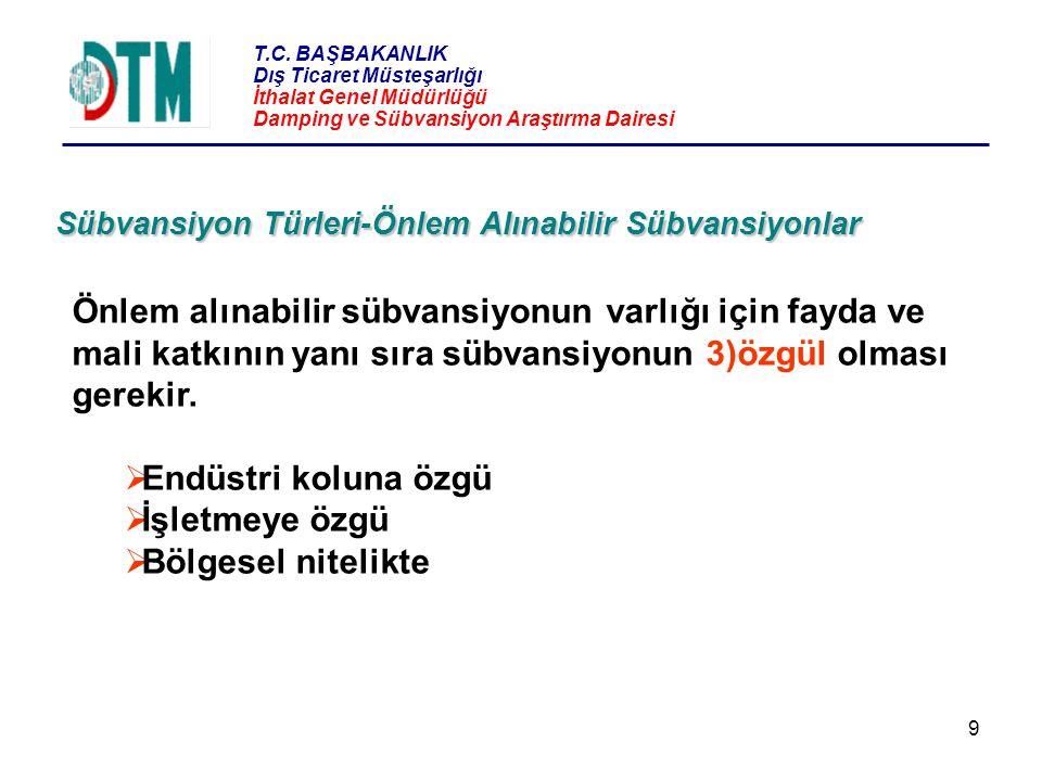 T.C. BAŞBAKANLIK Dış Ticaret Müsteşarlığı İthalat Genel Müdürlüğü Damping ve Sübvansiyon Araştırma Dairesi