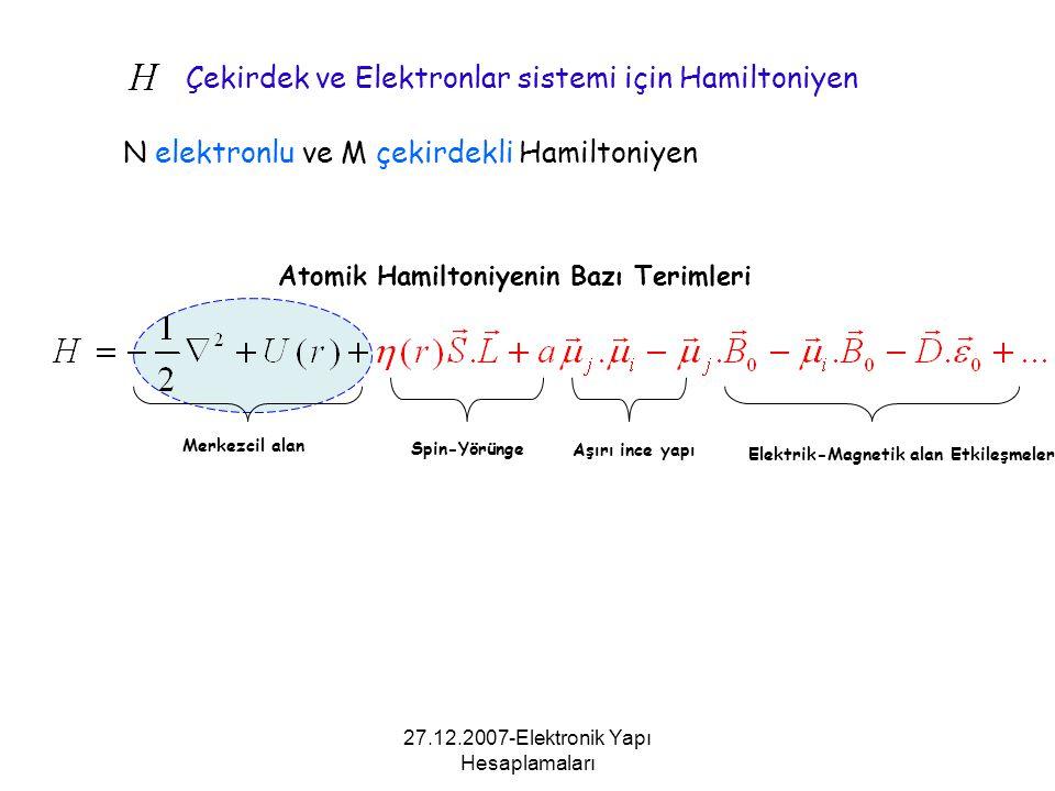 Atomik Hamiltoniyenin Bazı Terimleri