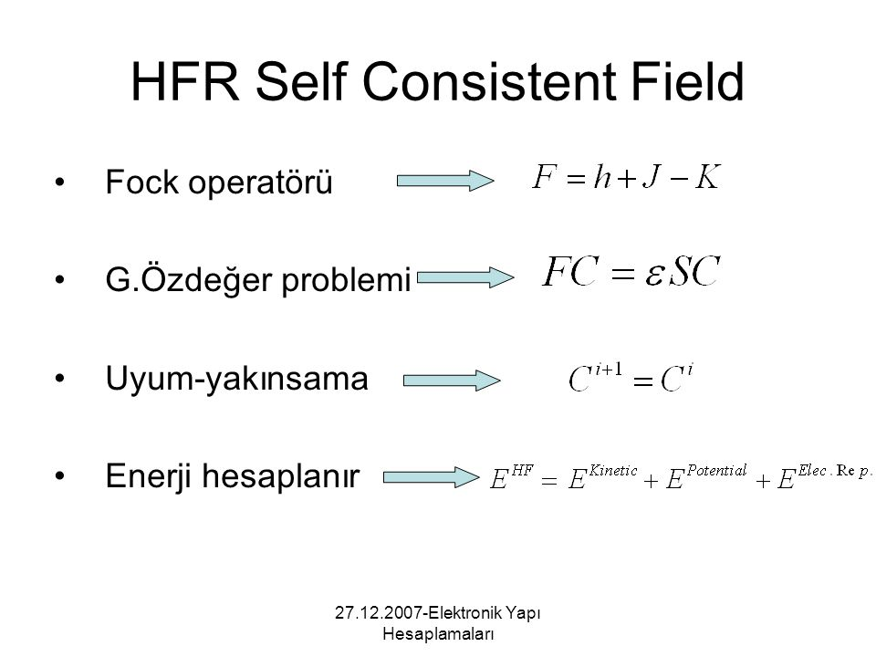 HFR Self Consistent Field