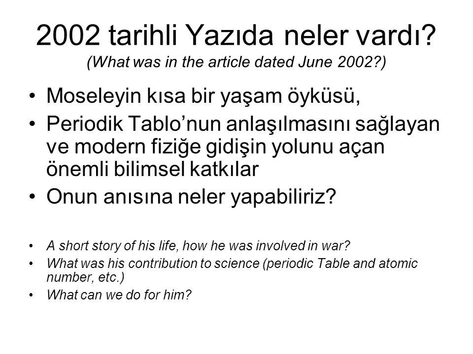 2002 tarihli Yazıda neler vardı