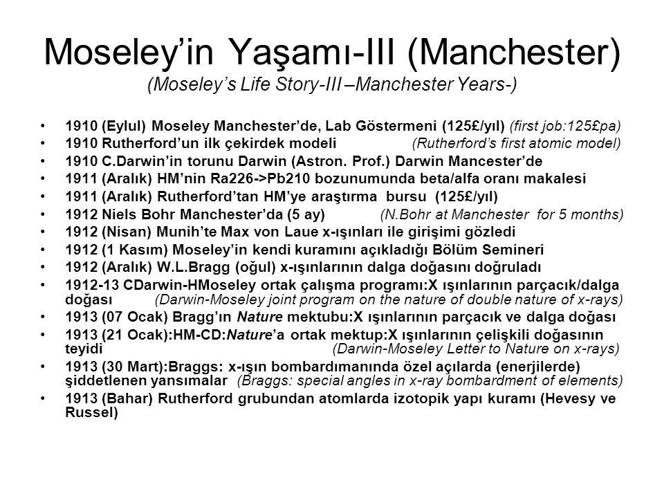 Moseley'in Yaşamı-III (Manchester) (Moseley's Life Story-III –Manchester Years-)