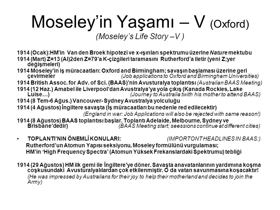 Moseley'in Yaşamı – V (Oxford) (Moseley's Life Story –V )