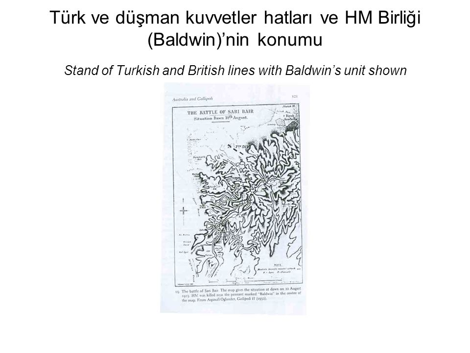 Türk ve düşman kuvvetler hatları ve HM Birliği (Baldwin)'nin konumu Stand of Turkish and British lines with Baldwin's unit shown
