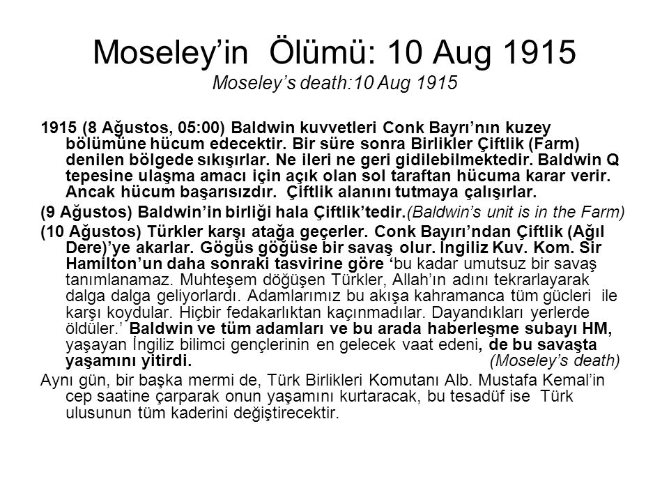 Moseley'in Ölümü: 10 Aug 1915 Moseley's death:10 Aug 1915