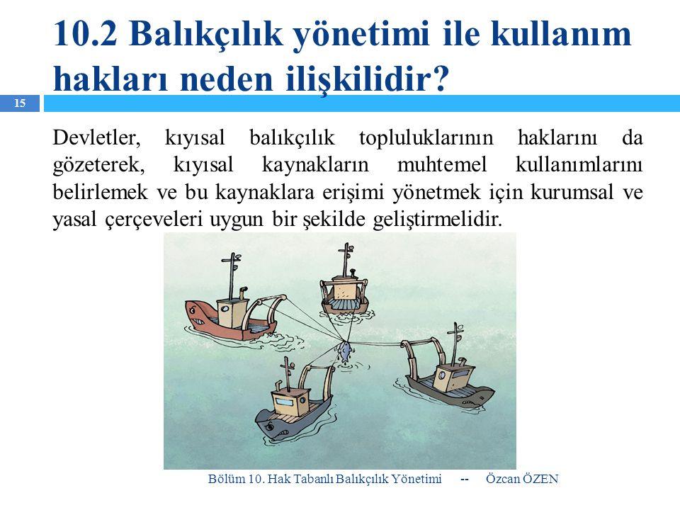 10.2 Balıkçılık yönetimi ile kullanım hakları neden ilişkilidir