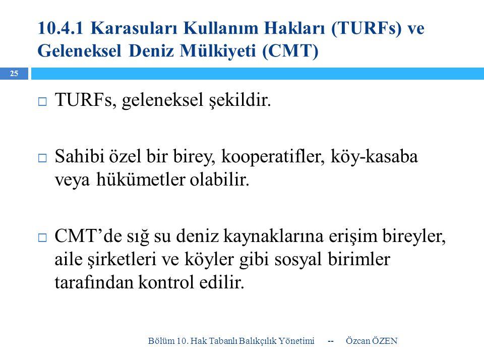 TURFs, geleneksel şekildir.