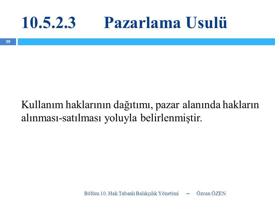 10.5.2.3 Pazarlama Usulü Kullanım haklarının dağıtımı, pazar alanında hakların alınması-satılması yoluyla belirlenmiştir.