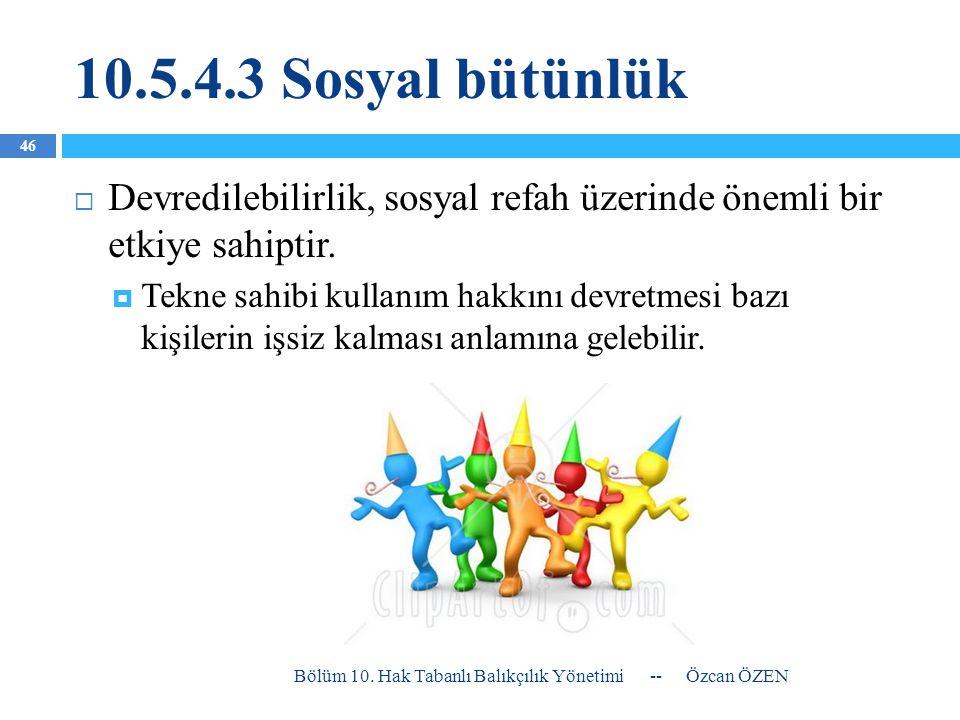 10.5.4.3 Sosyal bütünlük Devredilebilirlik, sosyal refah üzerinde önemli bir etkiye sahiptir.