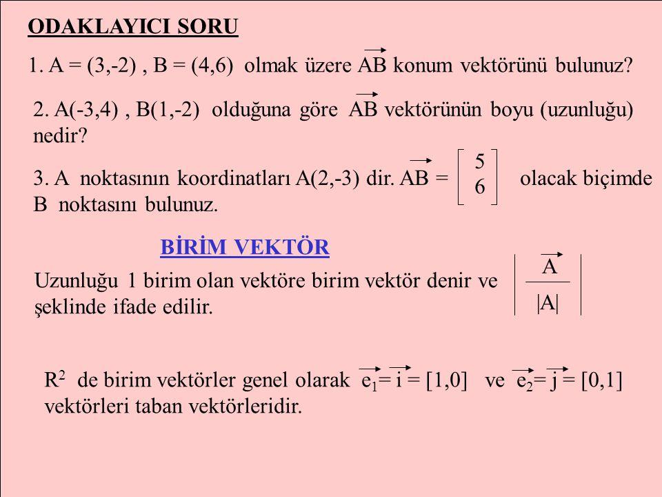 ODAKLAYICI SORU 1. A = (3,-2) , B = (4,6) olmak üzere AB konum vektörünü bulunuz