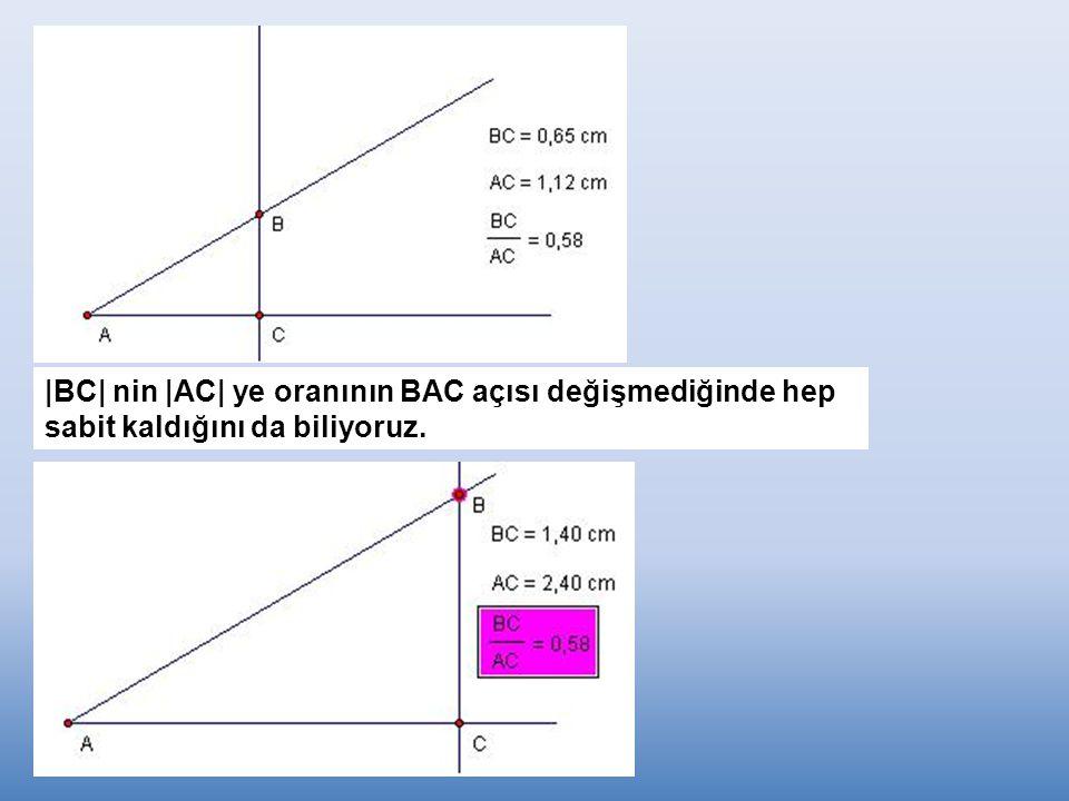 |BC| nin |AC| ye oranının BAC açısı değişmediğinde hep sabit kaldığını da biliyoruz.