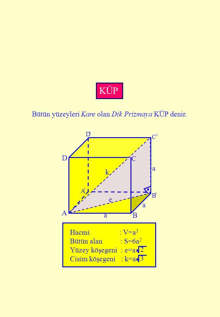 KÜP D C A B a k e Hacmi : V=a3 Bütün alan : S=6a2 Yüzey köşegeni : e=a
