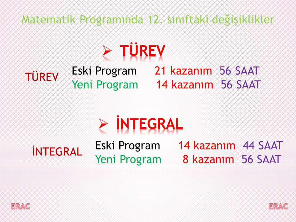 TÜREV İNTEGRAL Matematik Programında 12. sınıftaki değişiklikler