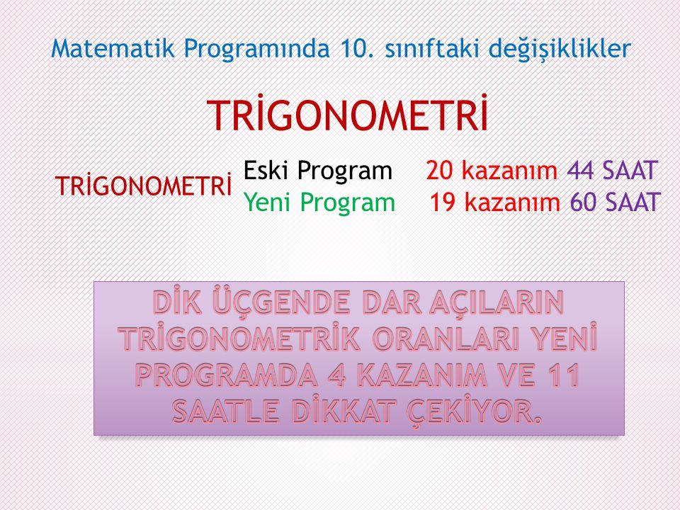 TRİGONOMETRİ Matematik Programında 10. sınıftaki değişiklikler