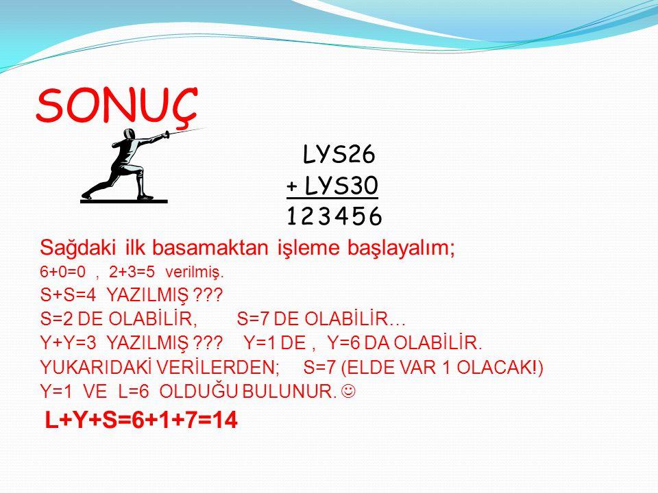 SONUÇ LYS26 + LYS30 123456 Sağdaki ilk basamaktan işleme başlayalım;