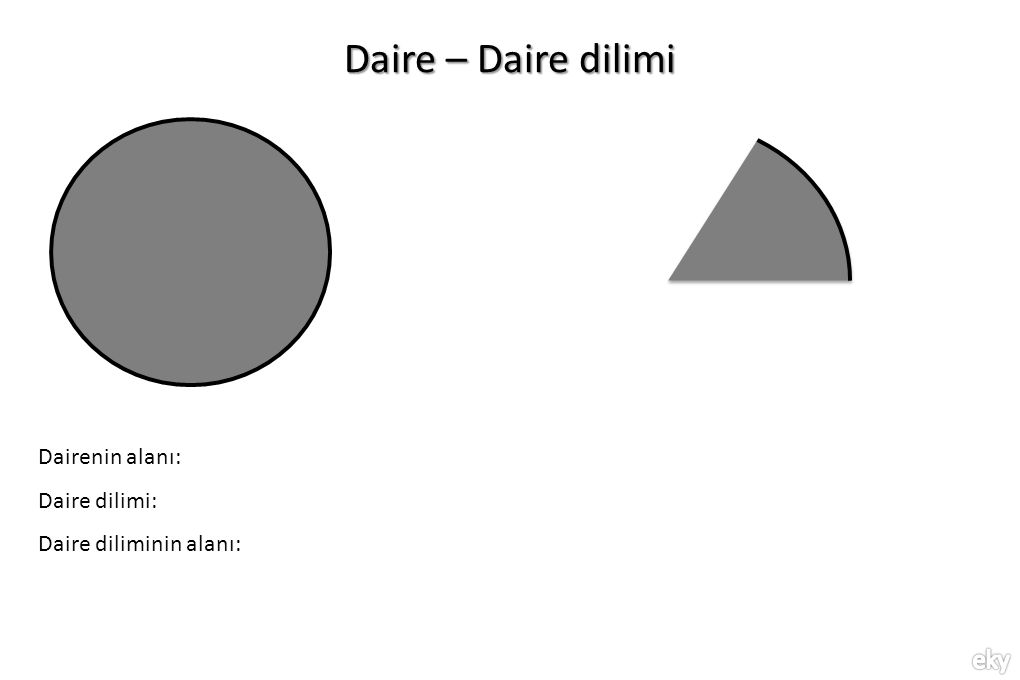 Daire – Daire dilimi Dairenin alanı: Daire dilimi: