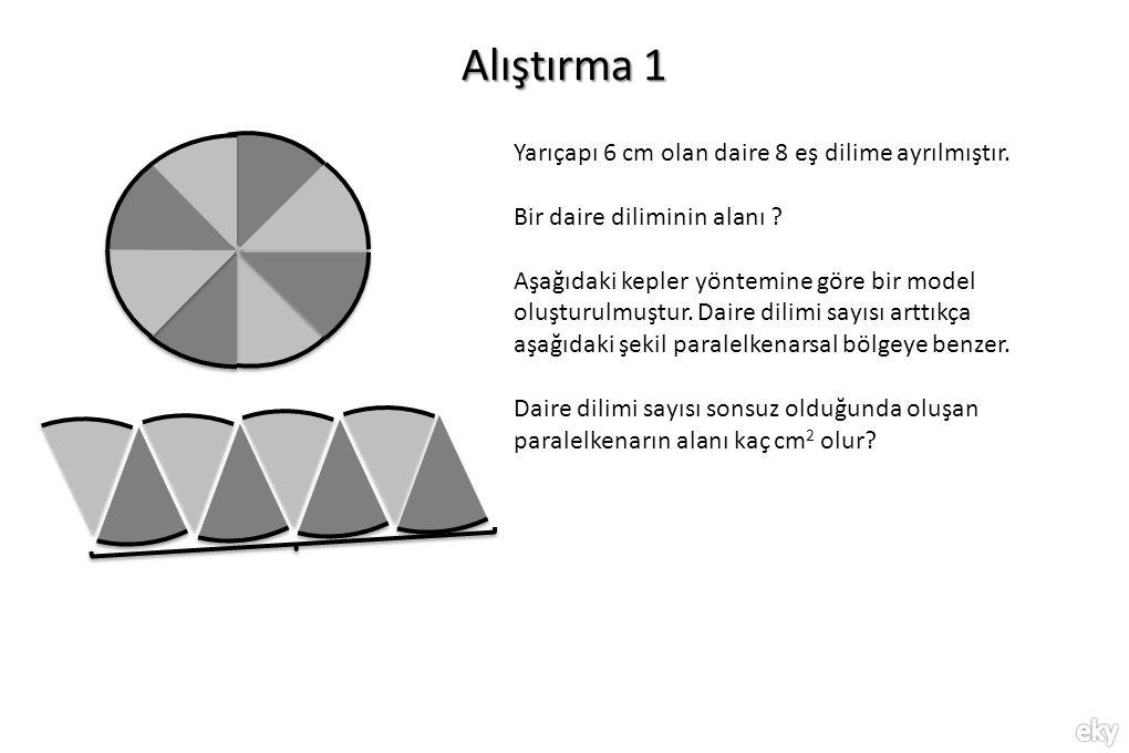 Alıştırma 1 Yarıçapı 6 cm olan daire 8 eş dilime ayrılmıştır.