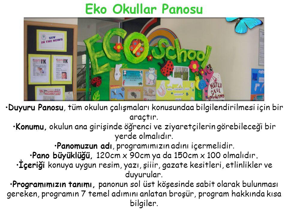Eko Okullar Panosu Duyuru Panosu, tüm okulun çalışmaları konusundaa bilgilendirilmesi için bir araçtır.