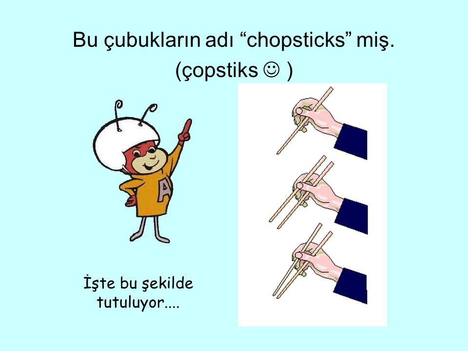 Bu çubukların adı chopsticks miş. (çopstiks  )
