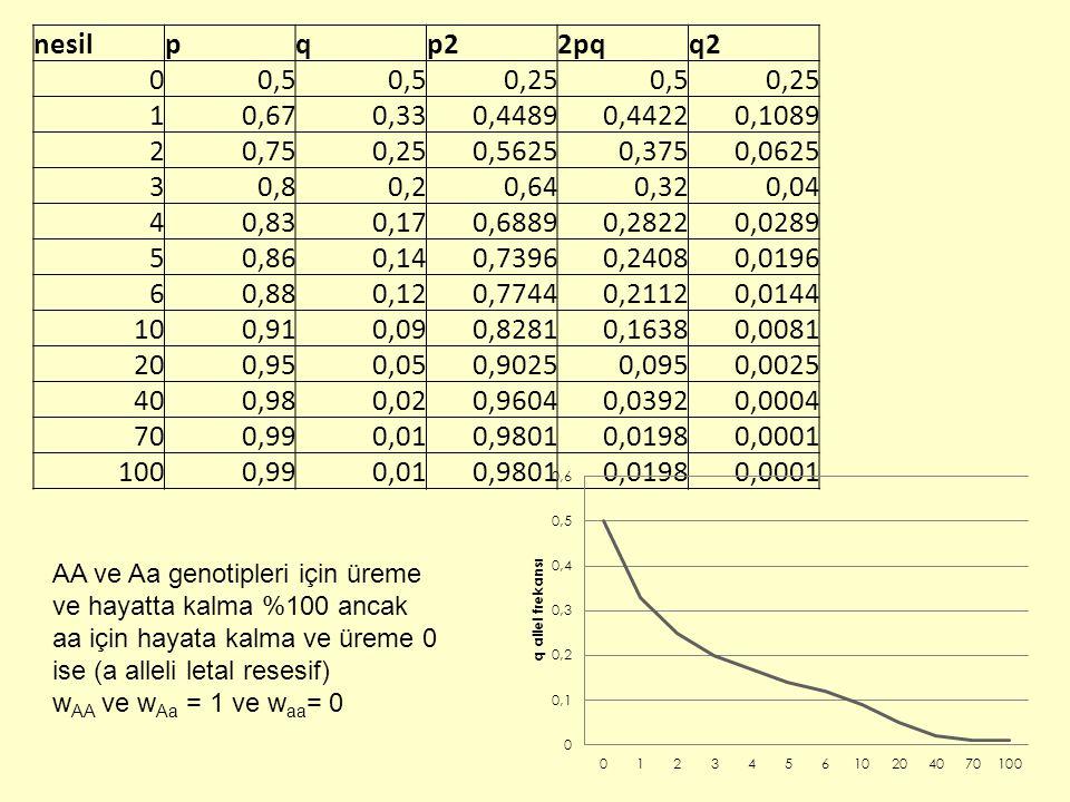 nesil p. q. p2. 2pq. q2. 0,5. 0,25. 1. 0,67. 0,33. 0,4489. 0,4422. 0,1089. 2. 0,75. 0,5625.