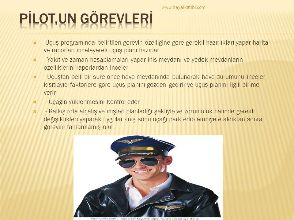 www.hayalkatibi.com PİLOT,UN GÖREVLERİ.