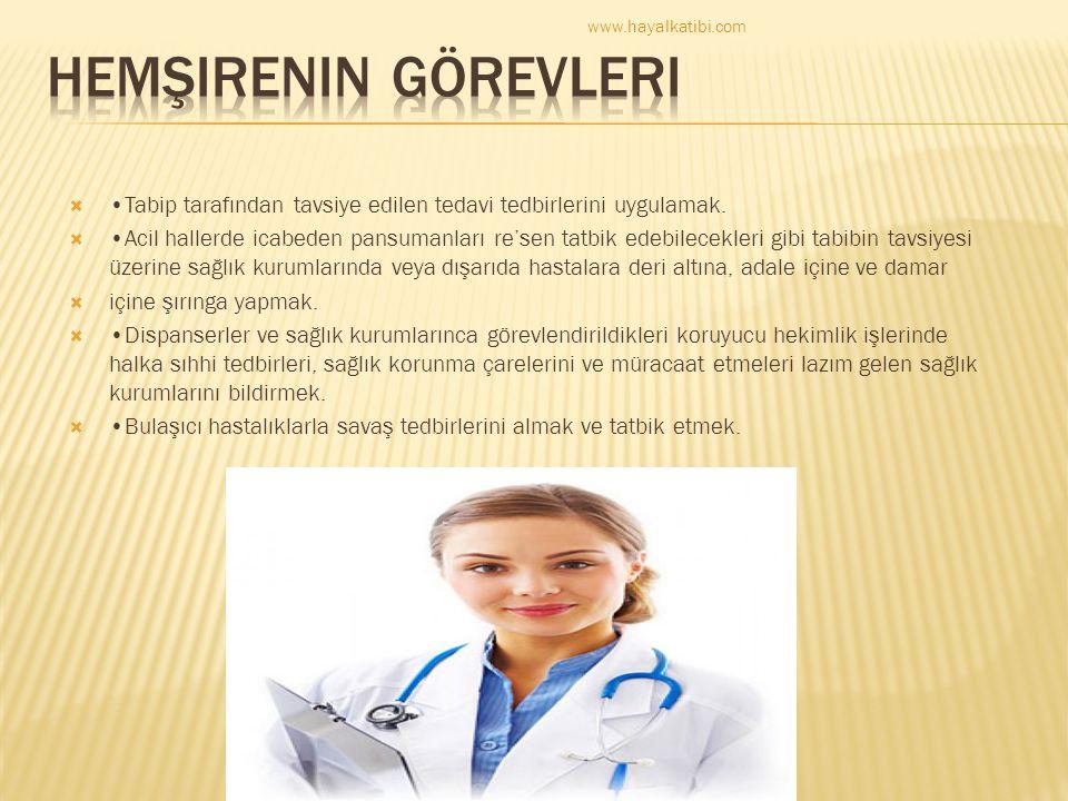 www.hayalkatibi.com Hemşirenin görevleri. •Tabip tarafından tavsiye edilen tedavi tedbirlerini uygulamak.