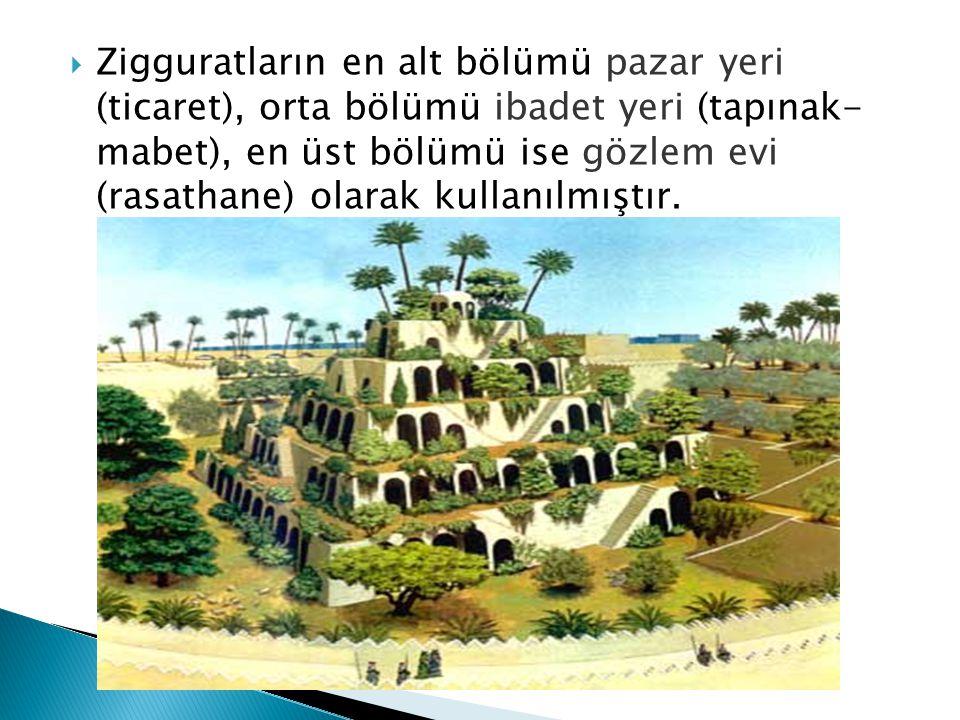 Zigguratların en alt bölümü pazar yeri (ticaret), orta bölümü ibadet yeri (tapınak- mabet), en üst bölümü ise gözlem evi (rasathane) olarak kullanılmıştır.