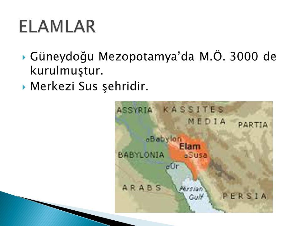 ELAMLAR Güneydoğu Mezopotamya'da M.Ö. 3000 de kurulmuştur.