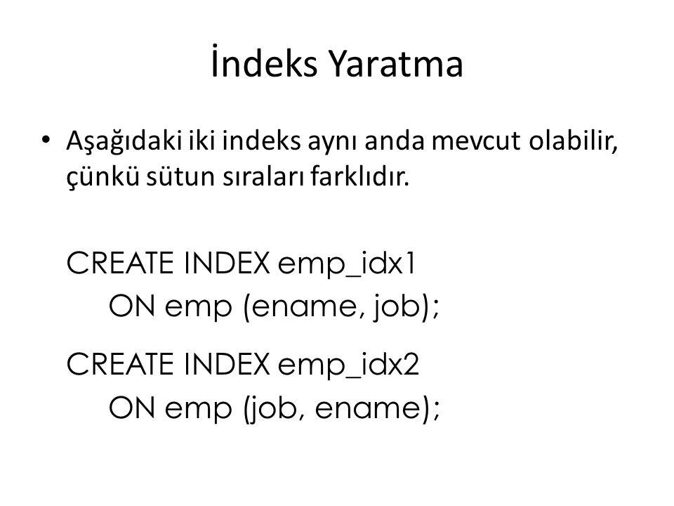 İndeks Yaratma Aşağıdaki iki indeks aynı anda mevcut olabilir, çünkü sütun sıraları farklıdır. CREATE INDEX emp_idx1.