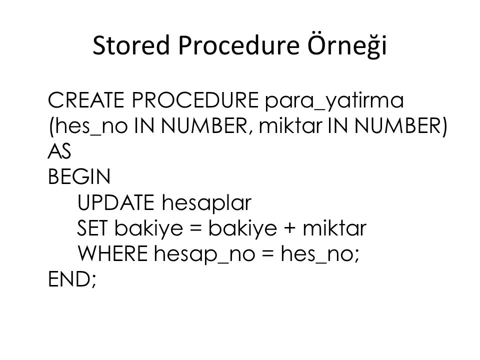Stored Procedure Örneği