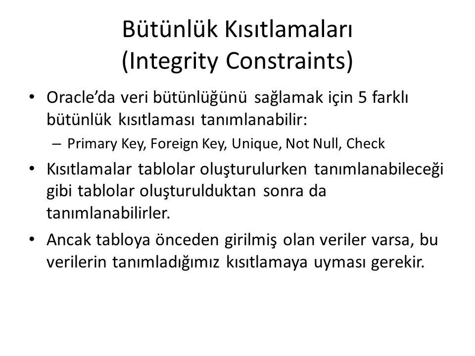 Bütünlük Kısıtlamaları (Integrity Constraints)