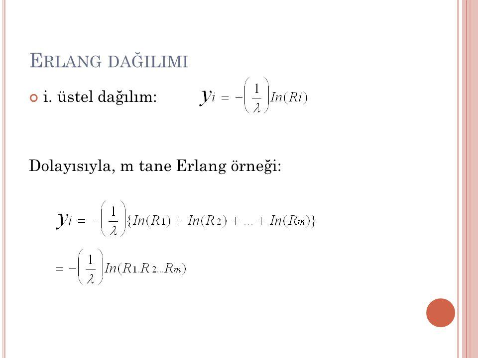 Erlang dağilimi i. üstel dağılım: Dolayısıyla, m tane Erlang örneği: