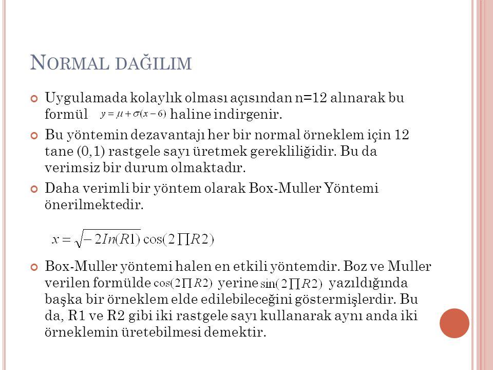 Normal dağilim Uygulamada kolaylık olması açısından n=12 alınarak bu formül haline indirgenir.