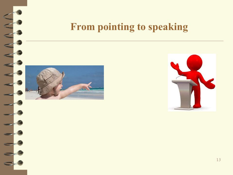 From pointing to speaking