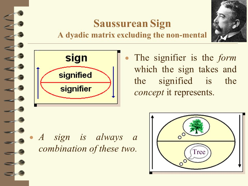 Saussurean Sign A dyadic matrix excluding the non-mental