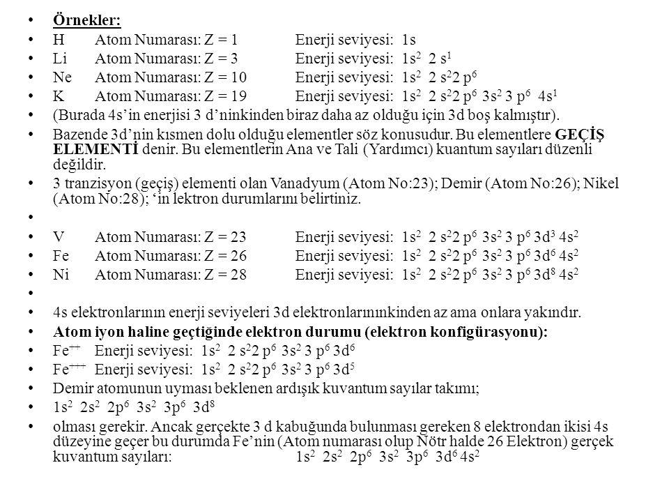 Örnekler: H Atom Numarası: Z = 1 Enerji seviyesi: 1s. Li Atom Numarası: Z = 3 Enerji seviyesi: 1s2 2 s1.