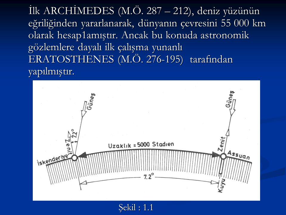 İlk ARCHİMEDES (M.Ö. 287 – 212), deniz yüzünün eğriliğinden yararlanarak, dünyanın çevresini 55 000 km olarak hesap1amıştır. Ancak bu konuda astronomik gözlemlere dayalı ilk çalışma yunanlı ERATOSTHENES (M.Ö. 276-195) tarafından yapılmıştır.