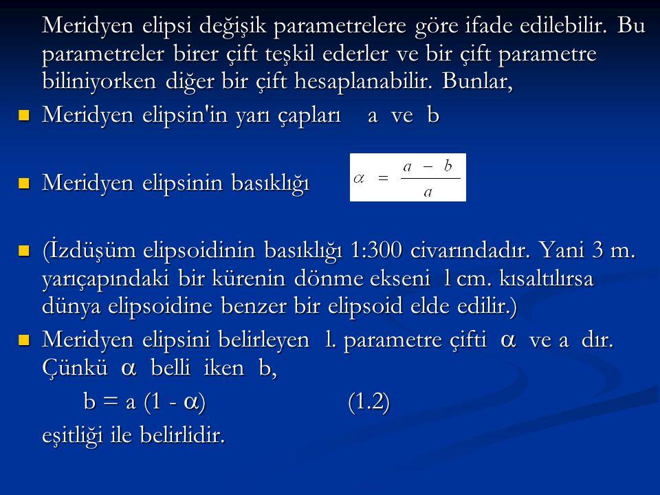 Meridyen elipsi değişik parametrelere göre ifade edilebilir