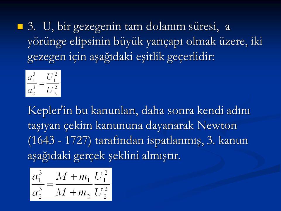 3. U, bir gezegenin tam dolanım süresi, a yörünge elipsinin büyük yarıçapı olmak üzere, iki gezegen için aşağıdaki eşitlik geçerlidir: