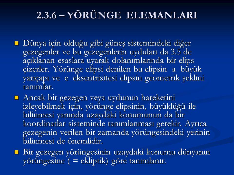 2.3.6 – YÖRÜNGE ELEMANLARI