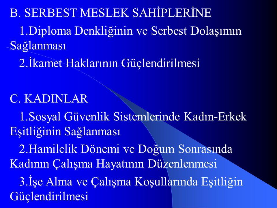 B. SERBEST MESLEK SAHİPLERİNE