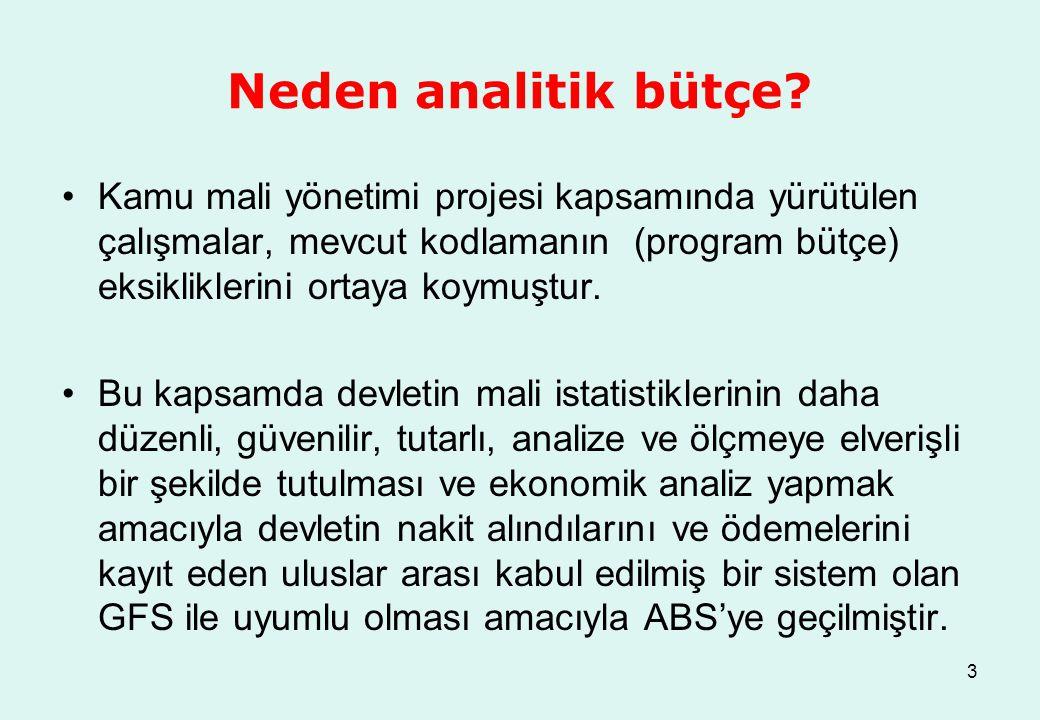 Neden analitik bütçe Kamu mali yönetimi projesi kapsamında yürütülen çalışmalar, mevcut kodlamanın (program bütçe) eksikliklerini ortaya koymuştur.