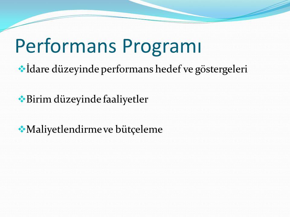 Performans Programı İdare düzeyinde performans hedef ve göstergeleri